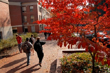 Students walk to class in front of Withers Hall. PHOTO BY ROGER WINSTEAD