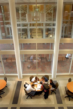 Students work on a group project in the EB2 atrium. PHOTO BY ROGER WINSTEAD